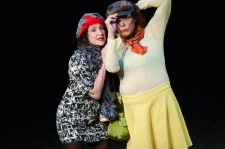 "Wanda Moats as the DUCK, appeared here with Wendy Cohen as the CHICKEN in WARP Theater's production of Scot Bastian's play, ""The Other Side"""